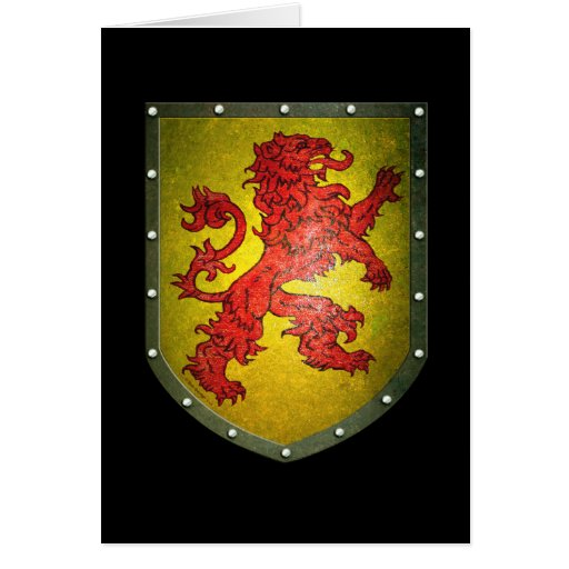 Metal Shield Red Lion Card