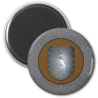 Metal Shield Unicorn Chainmail Border 2 Inch Round Magnet