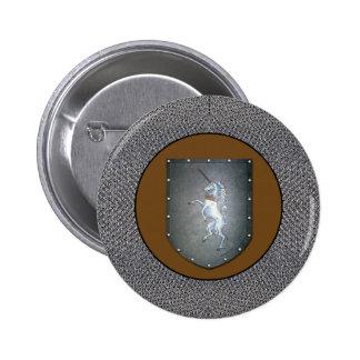 Metal Shield Unicorn Chainmail Dark Gold Pinback Button