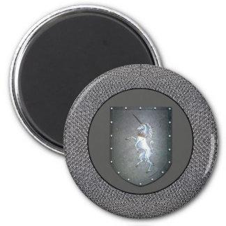 Metal Shield Unicorn Chainmail Darker Gray 2 Inch Round Magnet