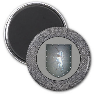 Metal Shield Unicorn Chainmail Lighter Gray 2 Inch Round Magnet
