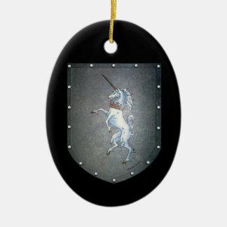 Metal Shield Unicorn Ornaments