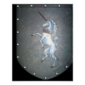 Metal Shield Unicorn print