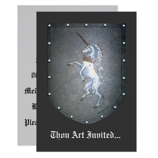 Metal Shield White Medieval Unicorn Card