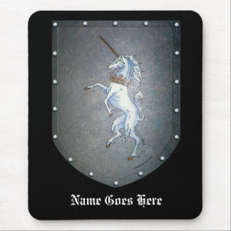 Metal Shield White Rampant Unicorn Mouse Pad