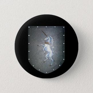 Metal Shield White Unicorn Black Button