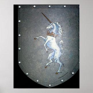 Metal Shield White Unicorn Black Poster