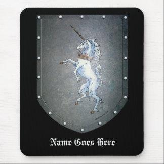 Metal Shield White Unicorn Mouse Pad