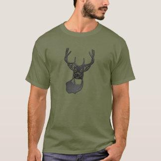 Metal Silhouette - White Tail Buck Deer T-Shirt