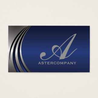 Metal silver grey blue eye-catching, monogram business card