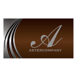 Metal silver grey chocola brown, monogram business business card