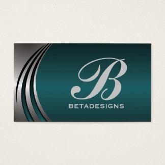 Metal silver grey, dark teal eye-catching monogram business card