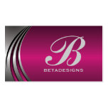 Metal silver grey fuchsia, eye-catching monogram business cards