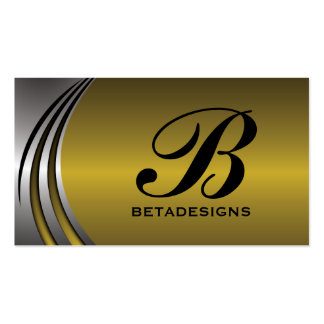 Metal silver grey, gold eye-catching monogram business card templates