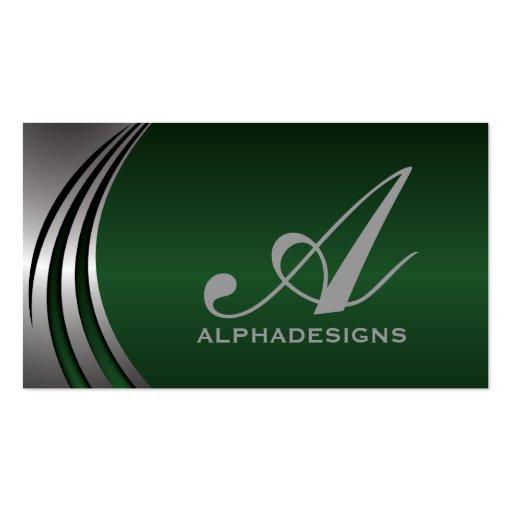 Metal silver grey, green eye-catching monogram business cards