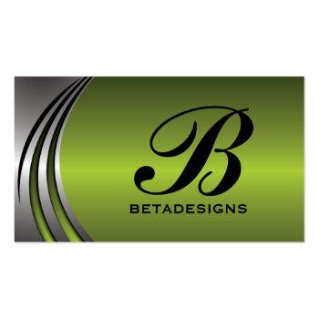 Metal silver grey, green eye-catching monogram business card template
