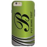 Metal silver grey green, monogram custom tough iPhone 6 plus case