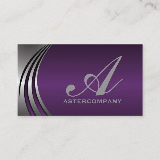Metal Silver Grey Purple Eye Catching Monogram Business Card