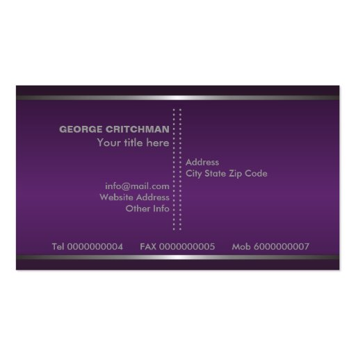 Metal silver grey purple, eye-catching monogram business card templates (back side)