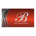 Metal silver grey red-orange eye-catching monogram business cards