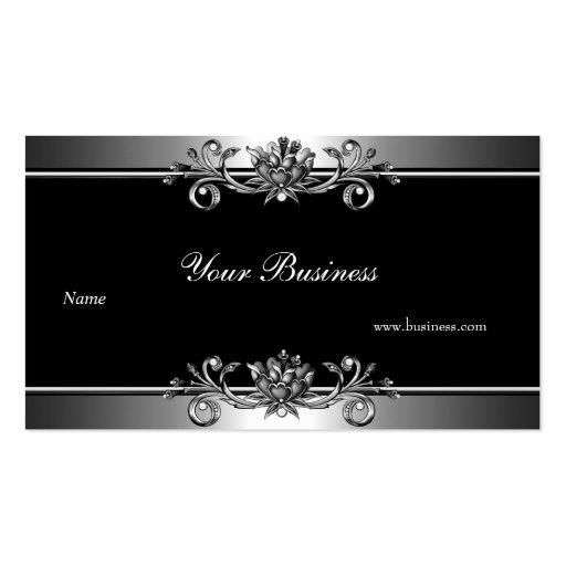 Metal Silver Look  Black Elegant Jewel Floral Business Cards