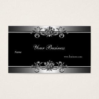 Metal Silver Look  Black Elegant Jewel Floral Business Card