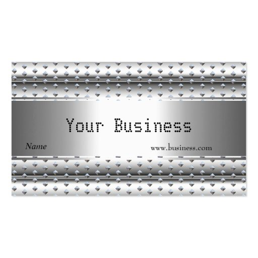 Metal Silver Look  studs White Ribbed Business Card