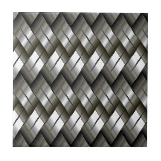 Metal Silver Pattern Small Square Tile
