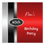 "Metal Silver Red Mens 40th Birthday Party Man 5.25"" Square Invitation Card"