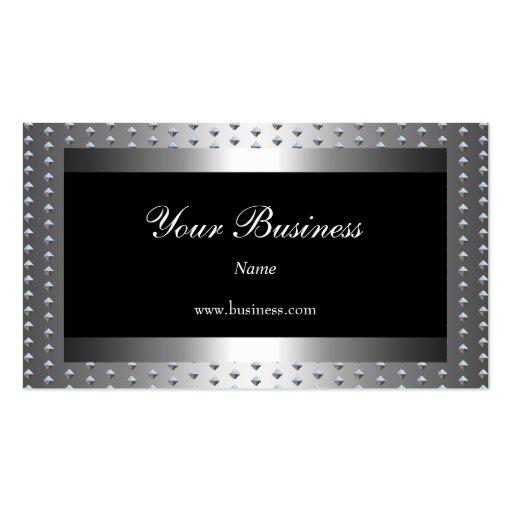 Metal Silver studs Black Elegant Classy Business Card Template
