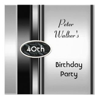 Metal Silver White Mens 40th Birthday Party Man Custom Invitations