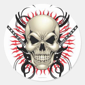 Metal Skull and Guitars design Classic Round Sticker