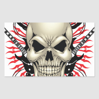 Metal Skull and Guitars design Rectangular Sticker