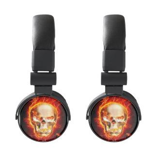 Metal Skull On Fire Skull On Flames Burning Skull Headphones