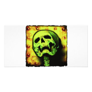 metal skull plate custom photo card