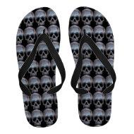 Metal Skulls Silver Look Image Black Print Flip-Flops