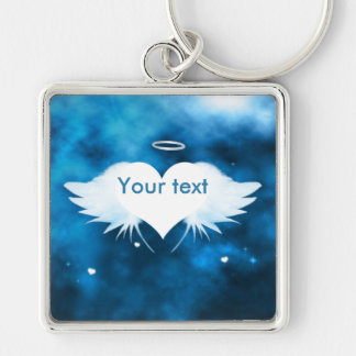 Metal Square Keychain - Angel of the Heart Silver-Colored Square Keychain