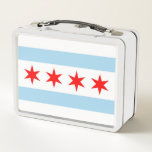 """Metal Stainless Lunchbox with flag of Chicago<br><div class=""""desc"""">Elegant Metal Stainless Lunchbox with flag of Chicago City, Illinois State, United States of America. Adorable and durable, our metal lunch box is perfect for those in love with the classic style. Customize the front and back with images, text and designs for a fabulously fun lunch time for your kids...</div>"""