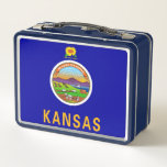 Metal Stainless Lunchbox with flag of Kansas<br><div class='desc'>Elegant Metal Stainless Lunchbox with flag of Kansas State, United States of America. Adorable and durable, our metal lunch box is perfect for those in love with the classic style. Customize the front and back with images, text and designs for a fabulously fun lunch time for your kids or yourself!...</div>