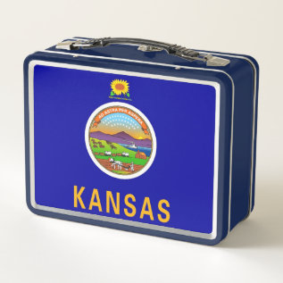 Metal Stainless Lunchbox With Flag Of Kansas at Zazzle