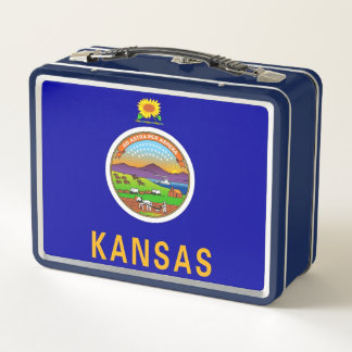 Metal Stainless Lunchbox with flag of Kansas