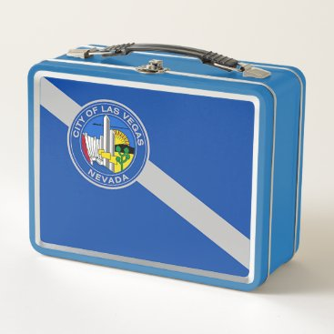 Metal Stainless Lunchbox with flag of Las Vegas