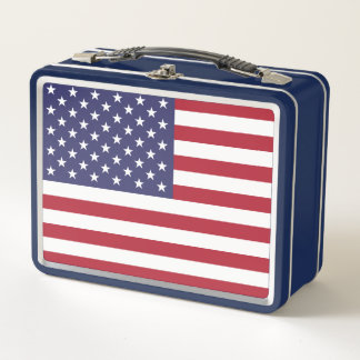 Metal Stainless Lunchbox with flag of USA