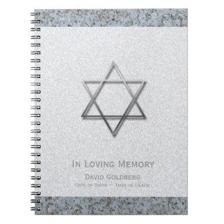 Metal Star of David 1 Funeral Memorial Guest Book