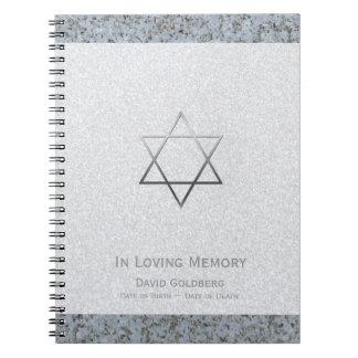 Metal Star of David 2 Funeral Memorial Guest Book