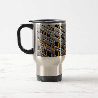 Metal Steel Orange Stripe Travel Mug