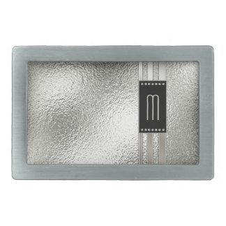Metal Stripes on Glass Monogram Beige ID443 Belt Buckle