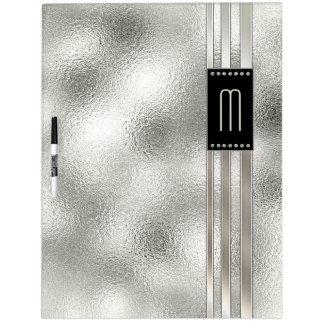 Metal Stripes on Glass Monogram Beige ID443 Dry Erase Board