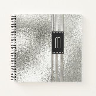 Metal Stripes on Glass Monogram Beige ID443 Notebook