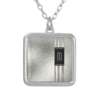Metal Stripes on Glass Monogram Beige ID443 Silver Plated Necklace